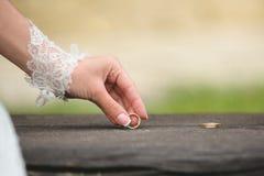 Bride Holding Ring Stock Photo