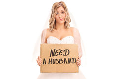Bride holding a sign that says need a husband Royalty Free Stock Image