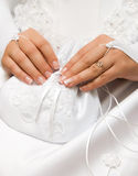 Bride holding a small bag Royalty Free Stock Photography