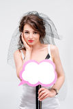 bride holding a speech bubble sign Royalty Free Stock Photography