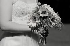Bride Holding Sunflower Wedding Bouquet Royalty Free Stock Photography