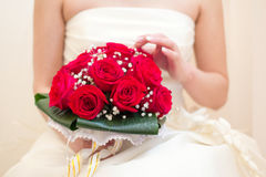 Bride holding wedding bouquet Royalty Free Stock Photo