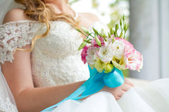 Bride holding wedding bouquet close up Royalty Free Stock Photo