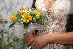 Bride holding the wedding bouquet closeup Royalty Free Stock Photo