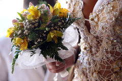 Bride holding the wedding bouquet closeup Royalty Free Stock Photography