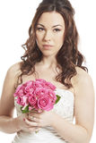 Bride holding a wedding bouquet thoughtful Stock Photos