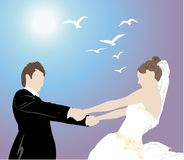Bride holds fiance Stock Images
