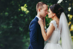 Bride holds groom`s bow tie leaning to his face Royalty Free Stock Photos