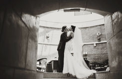 Bride holds groom's face in her arms kissing him in the tunnel Stock Photography