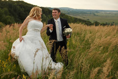 Bride holds groom's hand walking around the field Royalty Free Stock Photos