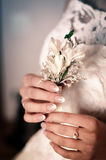 Bride Holds a Wedding Bouquet in Hands Royalty Free Stock Photos