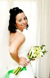 Bride at home. Portrait of a beautiful bride in her´s parents home Royalty Free Stock Photo