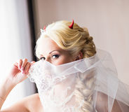 Bride with horns of the devil for Halloween Royalty Free Stock Photos