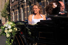 Bride in horse carriage Royalty Free Stock Image