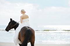 Bride on a horse by the sea Stock Photography