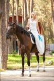 Bride and horse Stock Photos