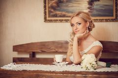 Bride in hotel Stock Photography