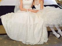 Bride Hugging Daughter Stock Images