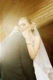 Bride hugging groom Stock Photos