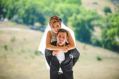 Bride Hugging Groom. Portrait of bride hugging groom Stock Photos