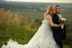 Bride hugs groom from behind while they daydreams on a hill Stock Photos