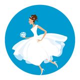 Bride is in a hurry. Nowadays bride - she is in a hurry as usual Vector Illustration