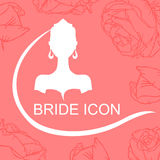 Bride icon in roses Stock Photos