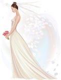 Bride. Vector illustration of beautiful girl in wedding dress in watercolor technique Stock Images