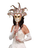 Bride In A Italian Carnaval Mask Stock Images