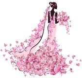 Bride In Floral Dress With Butterfly Royalty Free Stock Image