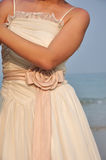Bride In Wedding Dress Under Sunset In The Beach Stock Images