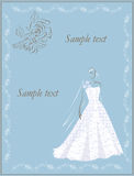 Bride invitation. Design of bride invitation with an openwork wedding dress - vector illustration royalty free illustration