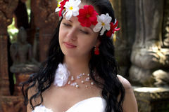 The bride on the island Samui. Lovers, happy couple, both in the white. Beautiful bride stock photo