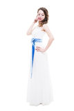 Bride isolated on white. Bride with hairstyling and makeup studio shot  isolated on white Royalty Free Stock Image