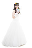 Bride isolated on white. Bride with hairstyling and makeup studio shot  isolated on white Stock Image