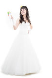 Bride isolated on white. Bride with hairstyling and makeup studio shot  isolated on white Stock Photos