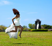 Bride in a jump Stock Photography