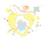 Bride jumping  for joy. Vector illustration with very happy bride jumping for joy Stock Image
