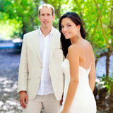 Bride just married couple in love at outdoor Royalty Free Stock Photos