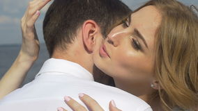 The bride kisses the groom stock video footage