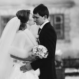 Bride kisses the groom Royalty Free Stock Photos