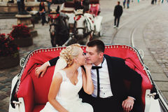 Bride kisses groom tenderly sitting in a red carriage Stock Photos