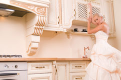 Bride in the kitchen Royalty Free Stock Photography