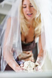 The bride in the kitchen. The bride makes a cake Royalty Free Stock Image
