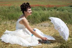 Bride with lace umbrella Royalty Free Stock Photography