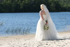 Bride by the Lake. A bride wonders by the lake Stock Images