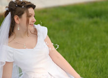 The bride on a lawn Royalty Free Stock Photography