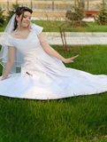 The bride on a lawn Stock Photo