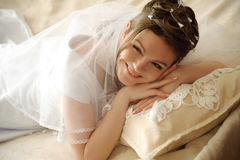 The bride on a lawn Stock Photos