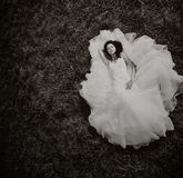 Bride laying on the grass Stock Photography